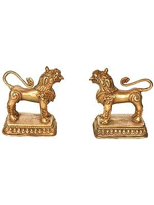 Full Gold Plated Nepalese Temple Lion Pair