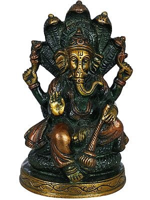 Lord Ganesha Seated on Sheshanaga