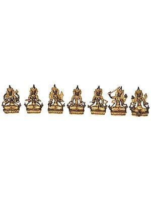 Set of Seven Tibetan Buddhist Bodhisattva Deities