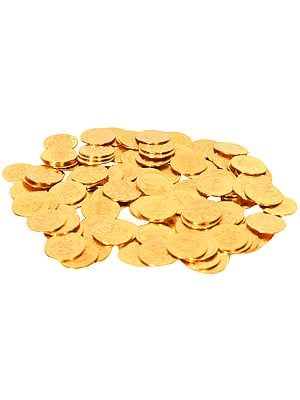 108 Coins for Lakshmi Puja With Lakshmi ji and and Lotus Images