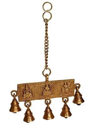 Lakshmi Ganesha and Saraswati Hanging Bells