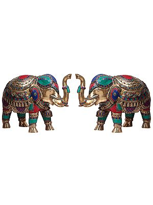 Pair of Superbly Decorated Elephants