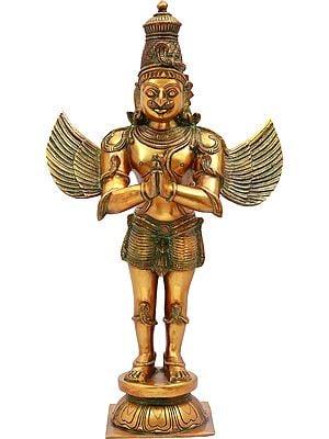 """21"""" Garuda   Brass Statue   Handmade   Made In India"""