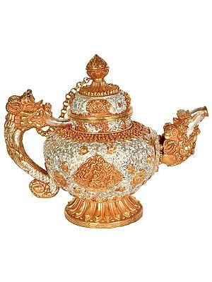 Tibetan Buddhist Ritual Kettle Embossed With Four Harmonious Brothers (Made In Nepal)