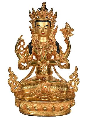 Tibetan Buddhist Deity Shadakshari Lokeshvara (Chenrezig) - Made in Nepal