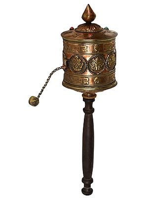 Large Size Tibetan Buddhist Ashtamangala Hand Held Prayer Wheel