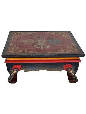 Tibetan Buddhist Ritual Pedestal with Double Dorje