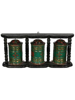 (Made in Nepal) Three Prayer Wheels in One Stand