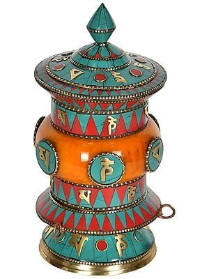 OM MANI PADME HUM Tibetan Buddhist Prayer Wheel from Nepal