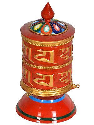 Tibetan Buddhist Prayer Wheel from Nepal with Auspicious Mantras