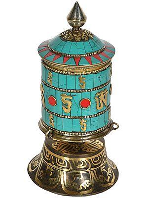 OM MANI PADME HUM Prayer Wheel from Nepal (Tibetan Buddhist)
