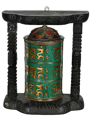 Enshrined Prayer Wheel from Nepal (Tibetan Buddhist)