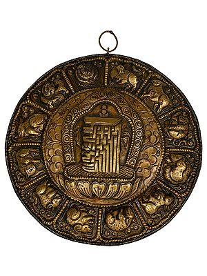 Wall Hanging from Nepal - Ten Syllables of Kalachakra Mandala with Tibetan Zodiac Signs