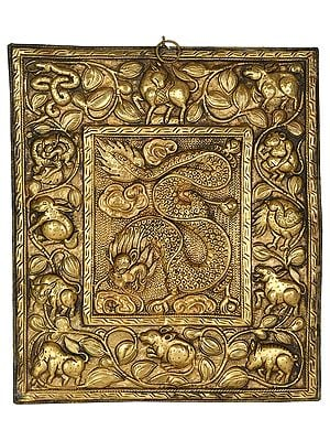 (Tibetan Buddhist) Dragon Wall Hanging from Nepal with Tibetan Zodiac Signs