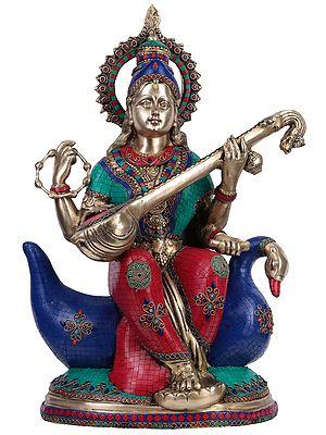 Goddess Saraswati Seated On a Swan (Large Size)