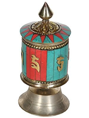 (Tibetan Buddhist) Om Mani Padme Hum Prayer Wheel from Nepal