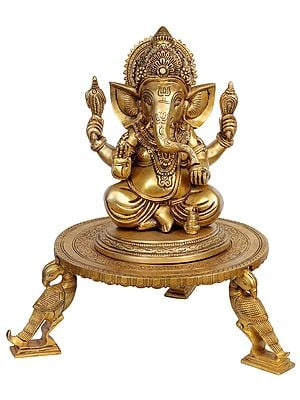 Lord Ganesha Seated on Parrot Chowki