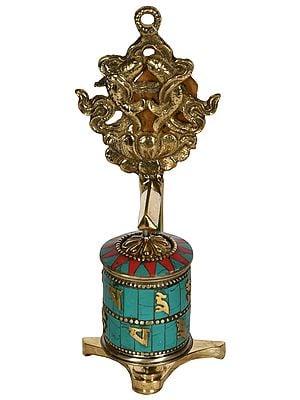 Tibetan Buddhist Prayer Wheel with Pair of Fish (Ashtamangala)
