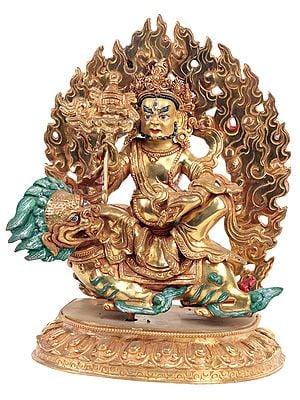 Tibetan Buddhist Deity Kubera on a Snow Lion (Made in Nepal)