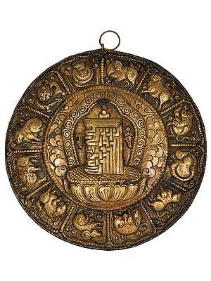 Ten Syllables of Kalachakra Mandala with Tibetan Zodiac Signs - Tibetan Buddhist Wall Hanging (Made in Nepal)