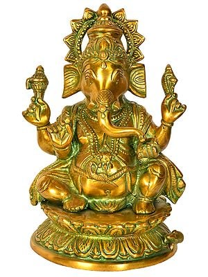 Lord Ganesha Seated on a Lotus Base