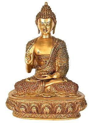 Tibetan Buddhist Lord Buddha in Vitark Mudra with Auspicious Mantras on The Back Side