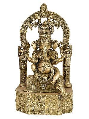 Lord Ganesha Seated on Lotus Base Carved with Hindu Deities