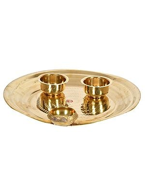 Puja Thali with attached Diya and Bowls