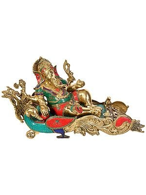 Ganesha Relaxing on Peacock Recliner (Large Size)