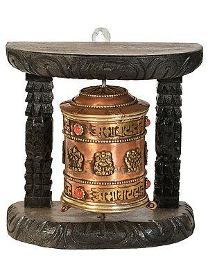 Tibetan Buddhist Prayer Wheel with Auspicious Mantras -Made in Nepal