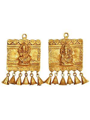 Lakshmi Ganesha Shubh Labh Door Hanging with Bells