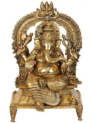 Lord Ganesha Seated on Kirtimukha Throne