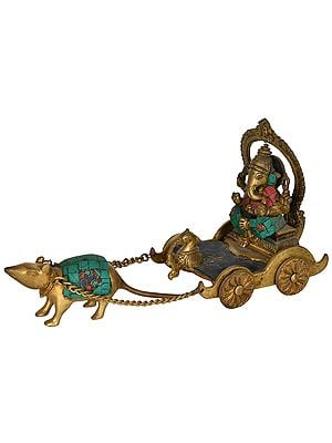 Lord Ganesha Riding a Rat Chariot