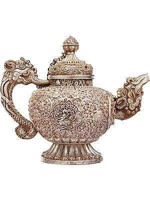 Tibetan Buddhist Ritual Kettle with Heavy Filigree Work (Made in Nepal)