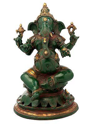 Lord Ganesha Seated on Lotus