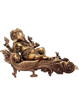 Ganesha Relaxing on Peacock Recliner
