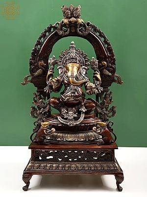 Ganesha Seated on Lotus Seat with Prabhavali