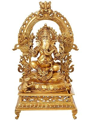 Ganesha Seated on Lotus Seat with Prabhavali