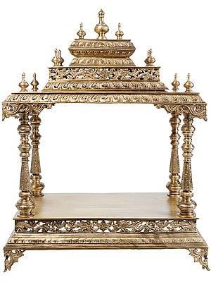 Latticeworked Bronze Mandir (Home Altar or Temple)