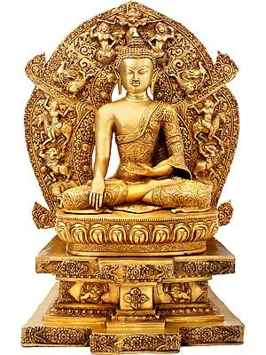 Large Size - Lord Buddha Seated on Six-Ornament throne of Enlightenment (Tibetan Buddhist)