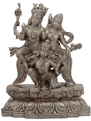 Garuda Flying with Bhagawan Vishnu and Devi Lakshmi