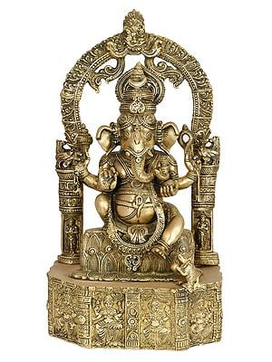 Lord Ganesha Seated on Lotus Base Carved with Hindu Deities