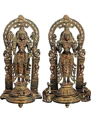 Vishnu-Lakshmi With Prabhavali And Elephant Diyas