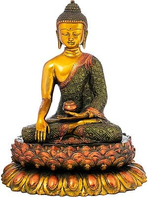 Tibetan Buddhist Lord Buddha Seated On Double Lotus Pedestal