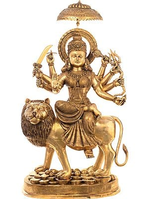 Very Large Simhavahini Goddess Durga Standing on a Mountain