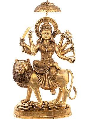 Simhavahini Durga, Atop Her Leonine Vahan On A Mountaintop