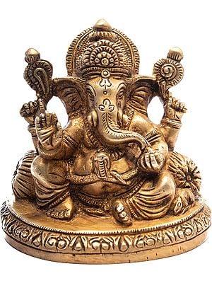 Ganesh Seated Amidst A Plethora Of Cushions