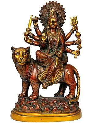 Goddess Durga With Her Lion on Mountain
