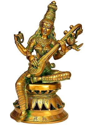 Goddess Saraswati Playing on Veena