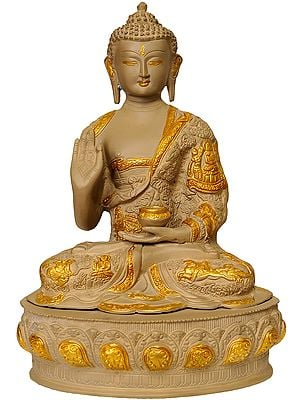 Tibetan Buddha In Terracotta Finish, Robes Embossed With Scenes From His Life